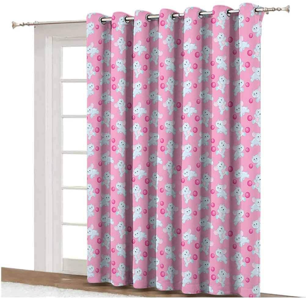 Elephant Sliding Door Curtain Kids Girls Design Pattern with Happy Baby Animals Joyful Fun Playing Dots Thermal Backing Sliding Glass Door Drape ,Single Panel 80x108 inch,for Home Decor Pink Baby Blue