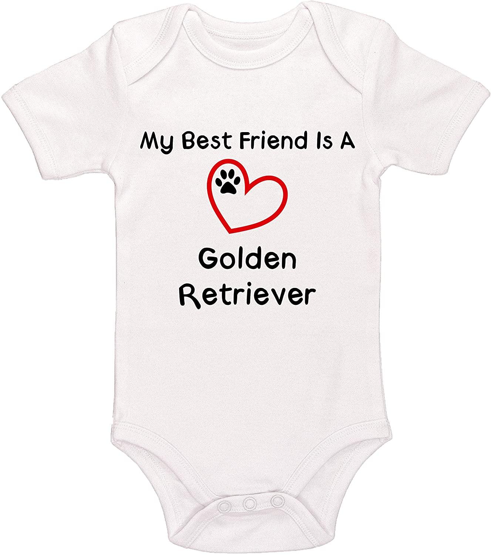 Kinacle My Best Friend is A Golden Retriever Baby Bodysuit