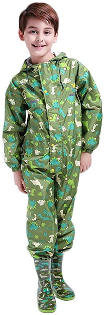 Kids Raincoat Ponchos Overall Rainsuit Boys and Girls Rain Gear,2-14 Years