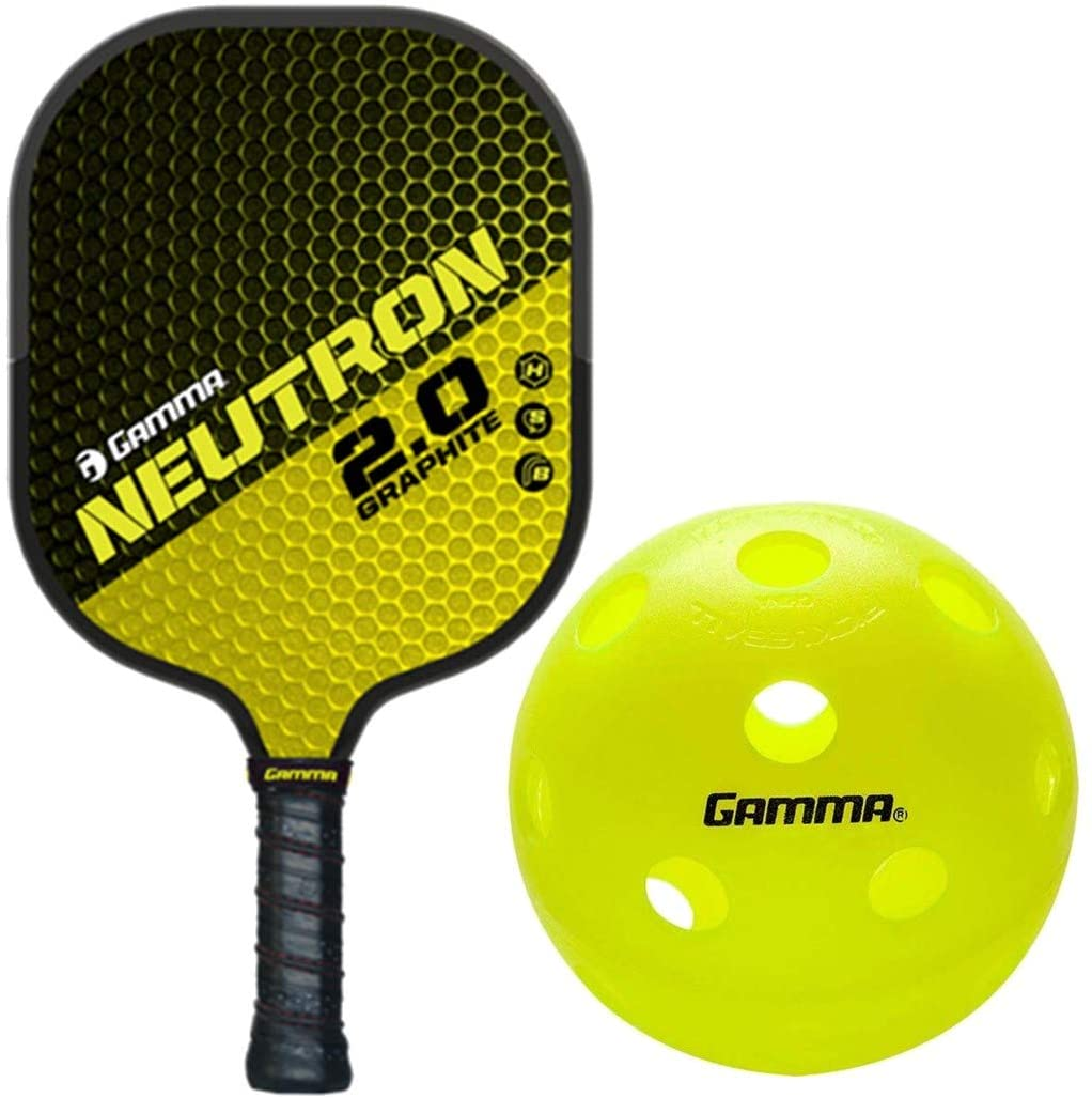 Gamma 2.0 Pickleball Paddle Kit Bundled with a Box of (3) Photon Indoor Pickleball Balls