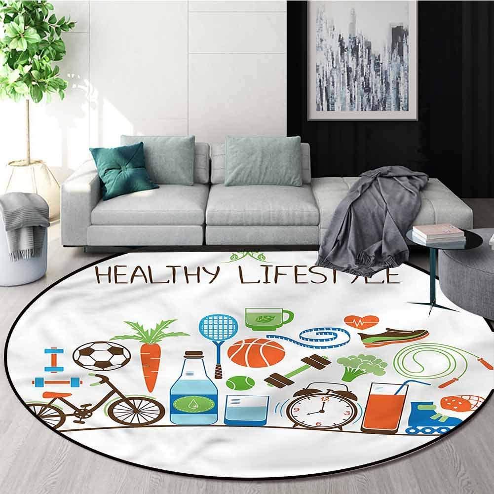RUGSMAT Fitness Modern Machine Round Bath Mat,Healthcare Wellness Design Non-Slip Fabric Round Rugs for Floor Mat Carpet Diameter-55
