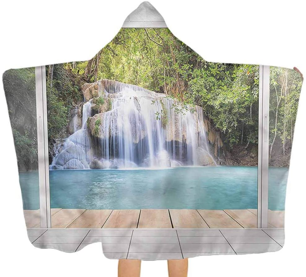 ThinkingPower Baby Hooded Bath Towel Nature, Waterfall with Wooden Deck Premium Toddler Towel with Hood Safe, Ultra Soft & Super Absorbent 51.5x31.8 Inch