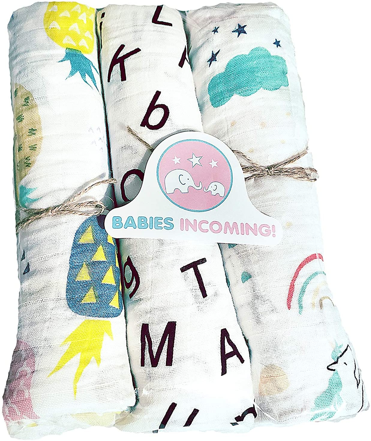 Babies Incoming! Soft Swaddle Blanket 3-Pack  100% Cotton Muslin Baby Swaddling Blankets: Cute