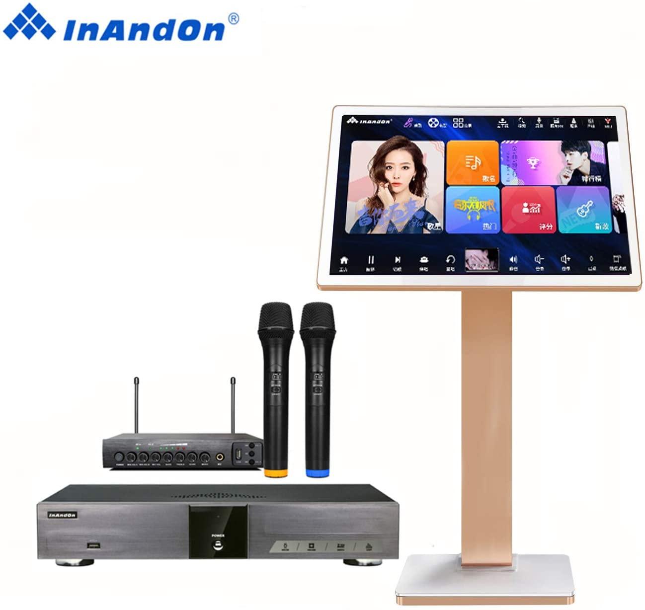 2020 new karaoke system InAndon KV - V5Pro professional karaoke jukebox, wireless microphone, karaoke players free download function of cloud, online movie double system(6TB +21.5