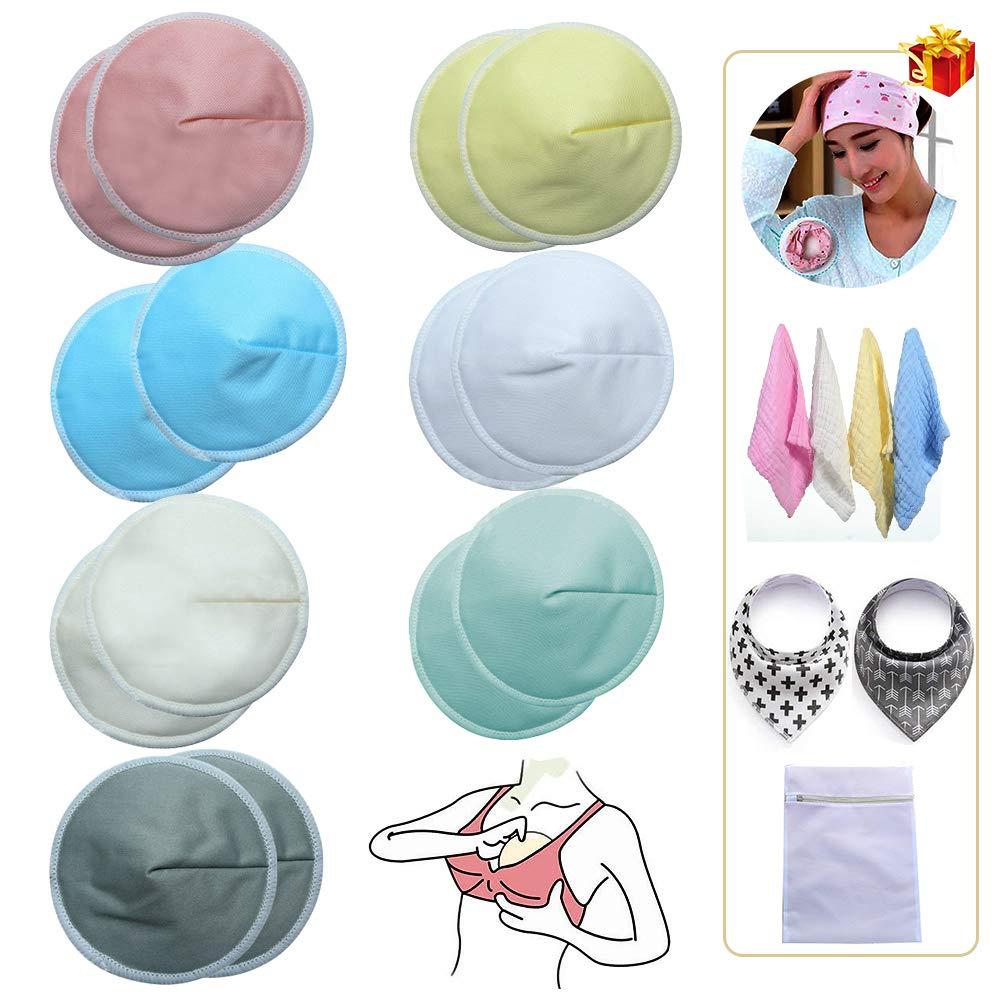 14 Washable Nursing Pads Bamboo Nursing Breast Pads for Breastfeeding Reusable Breastfeeding Nipplecovers Leak-Proof Nipple Pads with Bonus