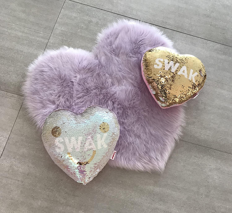 Machine Washable Faux Sheepskin Lavender Heart Rug 28