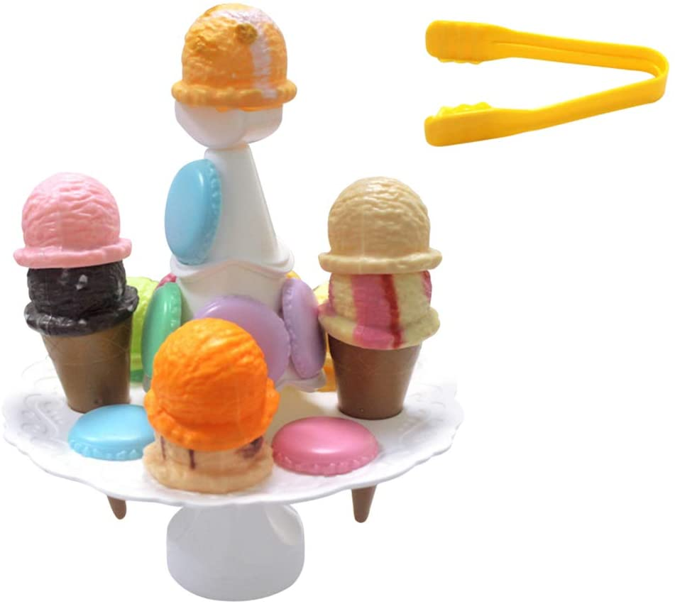 STOBOK Ice Cream Candy Tower Stacking Toy Food Balance Game Educational Toy for Girls and Boys
