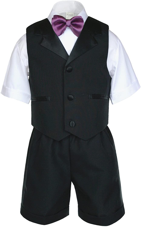 Unotux Boy Black Shorts Vest Set Suit Outfit Extra Eggplant Bow Tie Baby Toddler