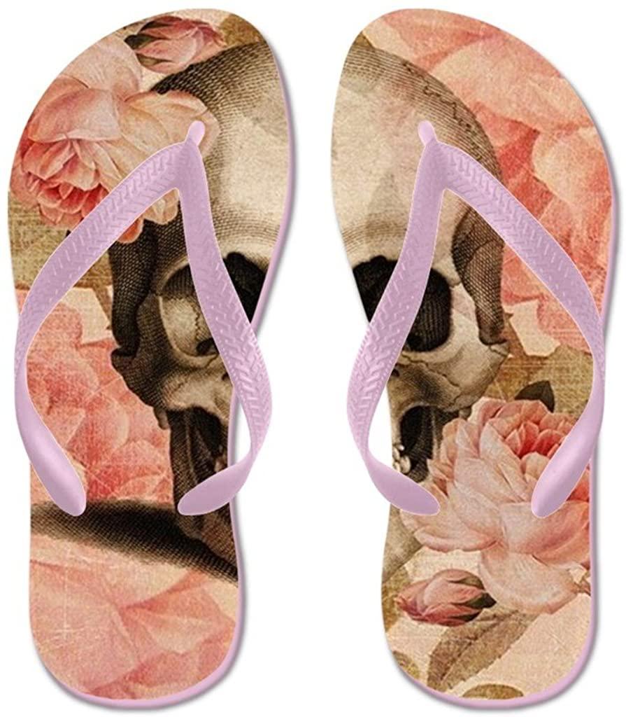 Lplpol Vintage Rosa Skull Collage Sandals Flip Flops for Kids S with Pink Flip Flops Belt
