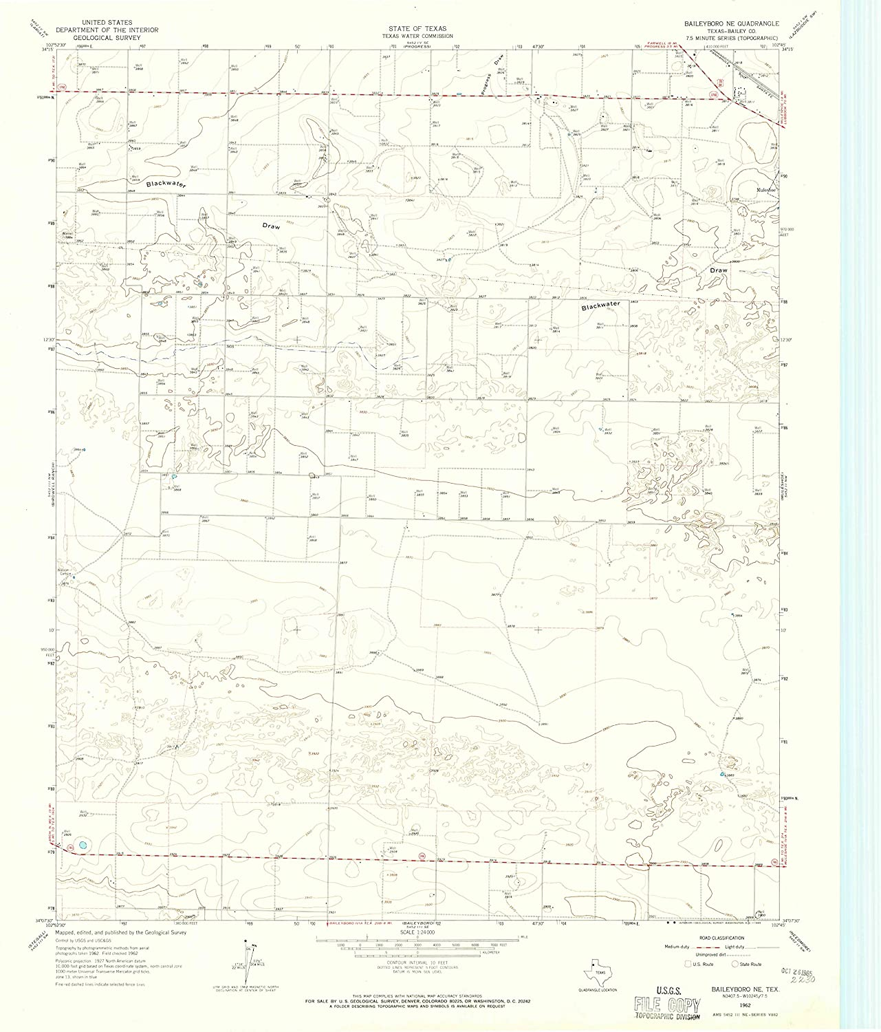Map Print - Baileyboro NE, Texas (1962), 1:24000 Scale - 24