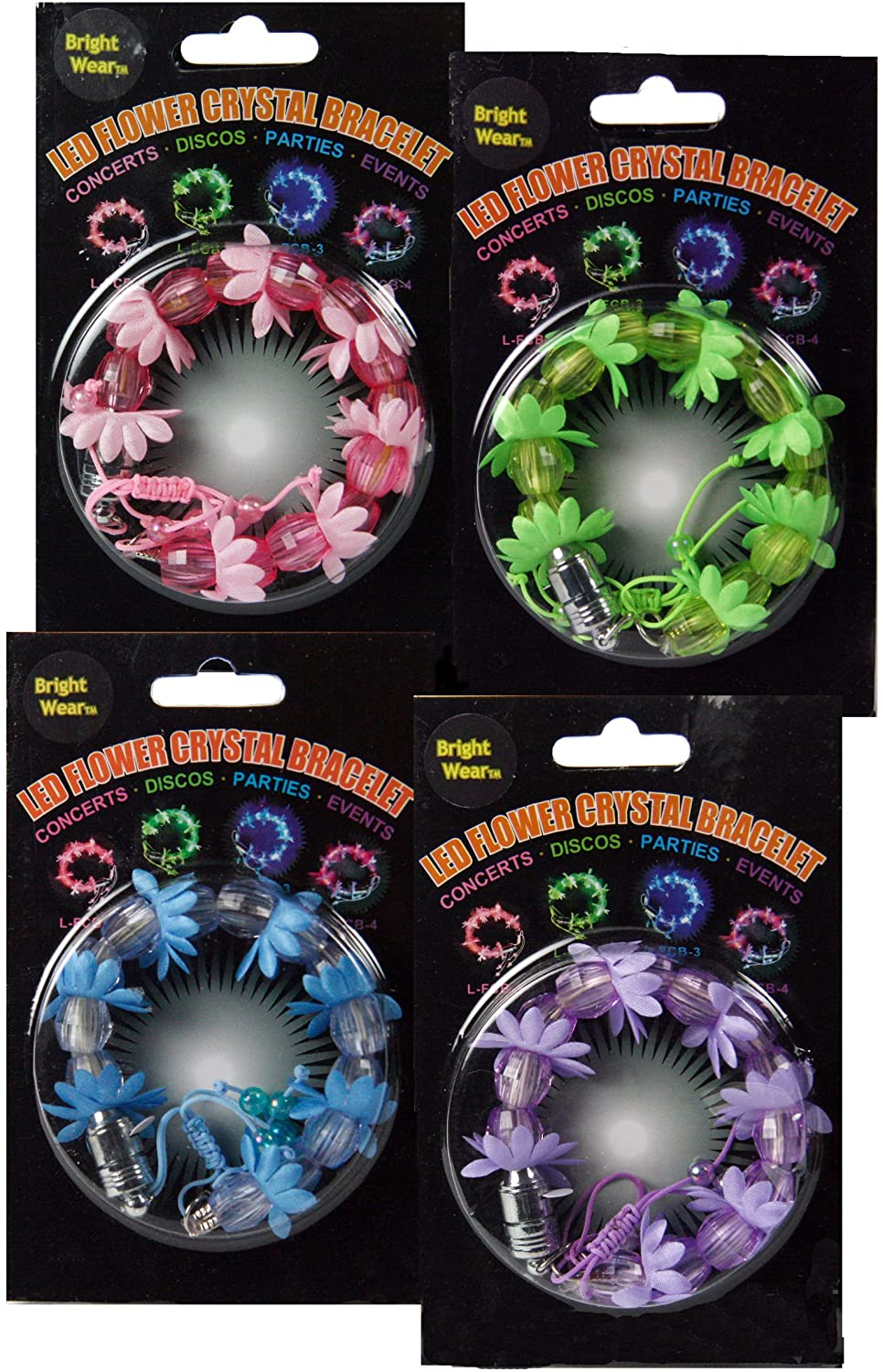 Set of 4- LED Flashing Blinking BRIGHT-WEAR(TM) Bracelets - 4 Different Colors