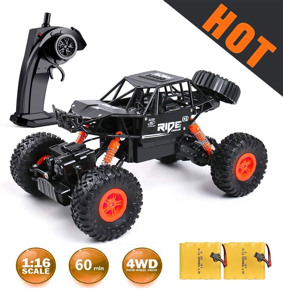 MaxTronic Remote Control Truck ,1:16 Off Road Remote Control Car with Two Rechargeable Batteries, 2.4Ghz 4WD All Terrain Rc Truck as Cool Birthday Gifts for Boys & Girls Age 4 5 6 7 8 9 10 11 12
