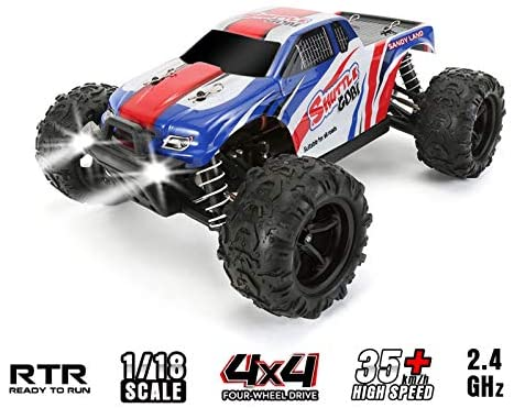 GEM Toys High-Speed Remote Control Car, 1/18 Scale 2.4 GHz Radio RC Cars, Fast 35+ KMH 4WD Off-Road Remote Control Trucks with LED Light, All Terrain RC Cars, Great RC Trucks for Adults Kids