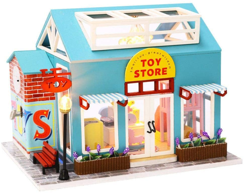DIY Dollhouse Furniture Miniature Kit with Music Movement -Hands Craft 3D Wooden Mini Doll House Decorations with Real LED Lights and Plus Dust Proof Creative Room Best Birthday/Christmas Gift for Boys and Girls (Toy Store)