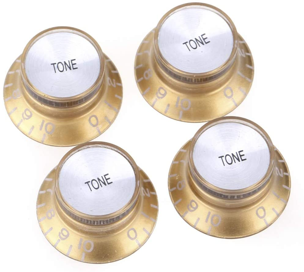 Musiclily Pro Imperial Inch Size Top Hat Bell Reflector Tone Knobs for USA Made Les Paul SG Electric Guitar, Gold with Silver Top (Set of 4)