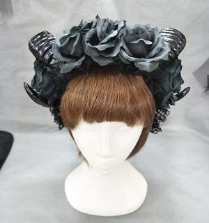 Halloween Hair Accessories Black Witches Vamp Gothic Horn Pan Flower Crown Headband for Clothing Accessories, Party Supplies, Childrens Party,Halloween Party Headband Crown (Color : Without Veil)