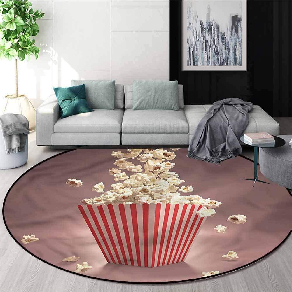 RUGSMAT Retro Modern Flannel Microfiber Round Area Rug,Popcorn Cinema Movie Theatre Study Computer Chair Cushion Base Mat Round Carpet Round-24