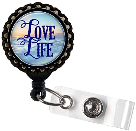Love Life - Blue and Black Retractable Badge Reel ID Holder