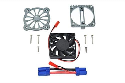Arrma 1:10 KRATON 4S BLX/SENTON 3S BLX Upgrade Parts Aluminum Motor Heatsink with Cooling Fan - 1 Set Gray Silver