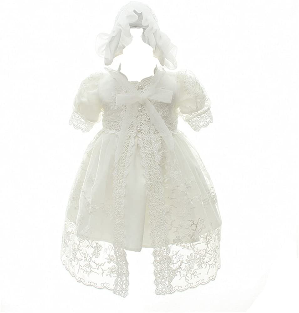 Coozy Baby Girl Christening Baptism Gowns Toddler Princess Wedding Special Occasion Dress 3Pcs Outfits
