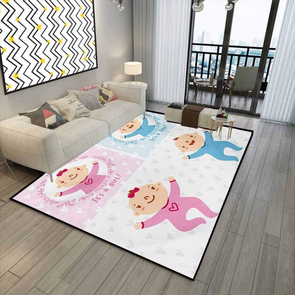 Gender Reveal Anti-Static Rug for Baby Children Women Yoga Mat Baby Boy Girl Infants Newborn Celebration with Hearts Theme Pale Pink and Sky Blue 5 x 7 ft