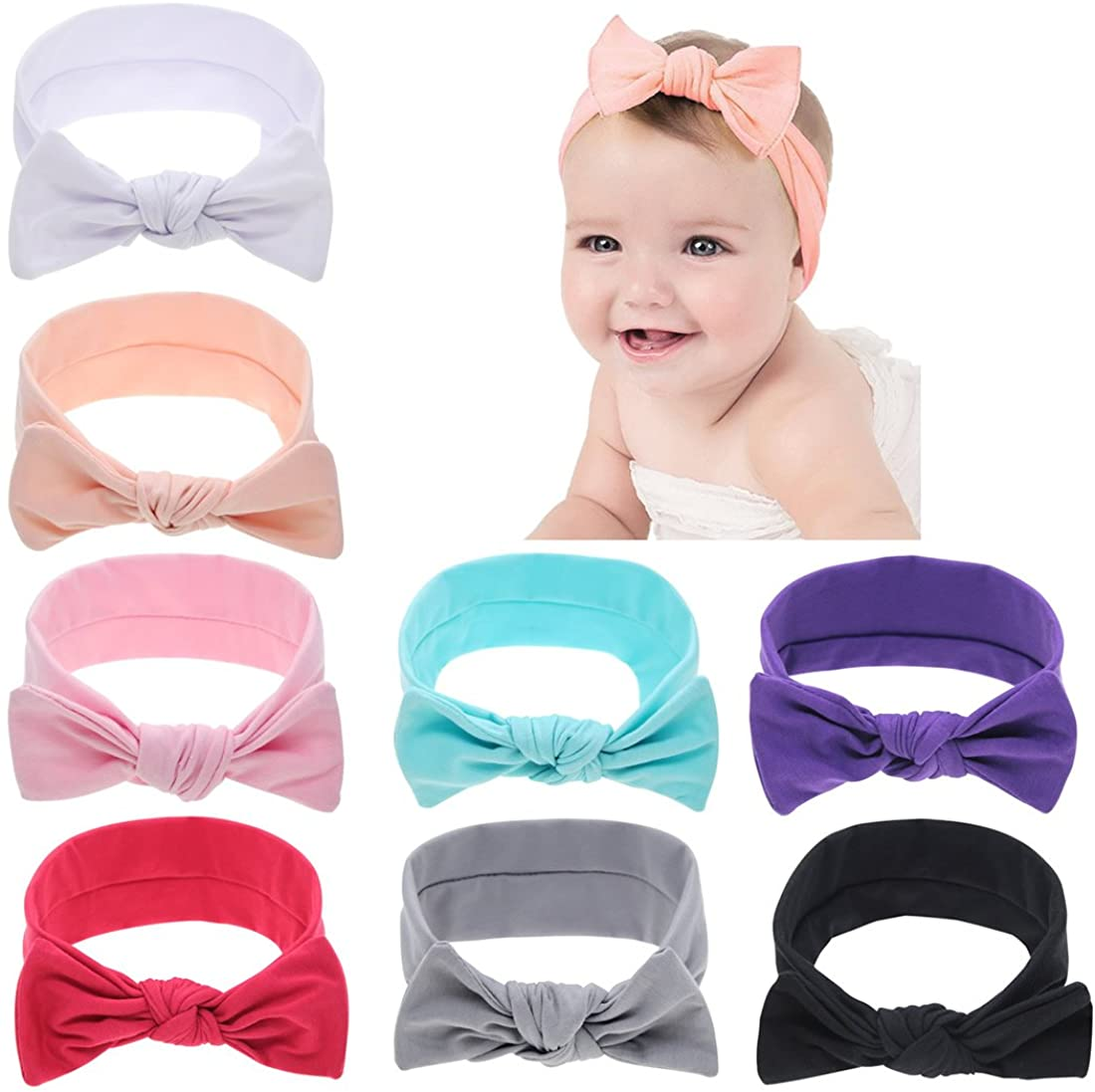 inSowni Boutique Stretchy Bandana Turban Solid Bow Headbands Hair Accessories for Baby Girls Toddlers Infants Kids