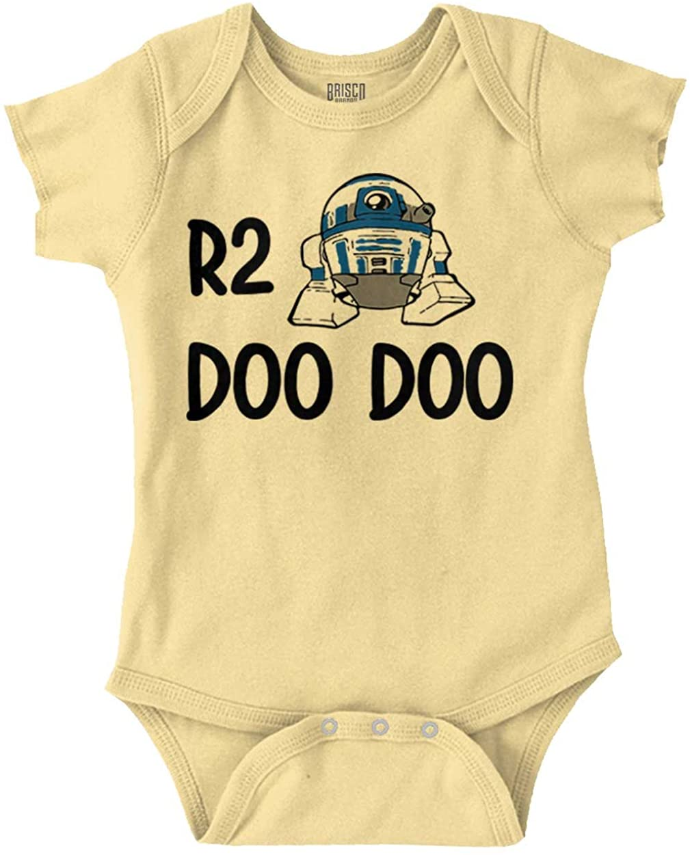 Brisco Brands R2 Doo Doo Funny Baby Bathroom Humor Cute Baby Romper Bodysuits