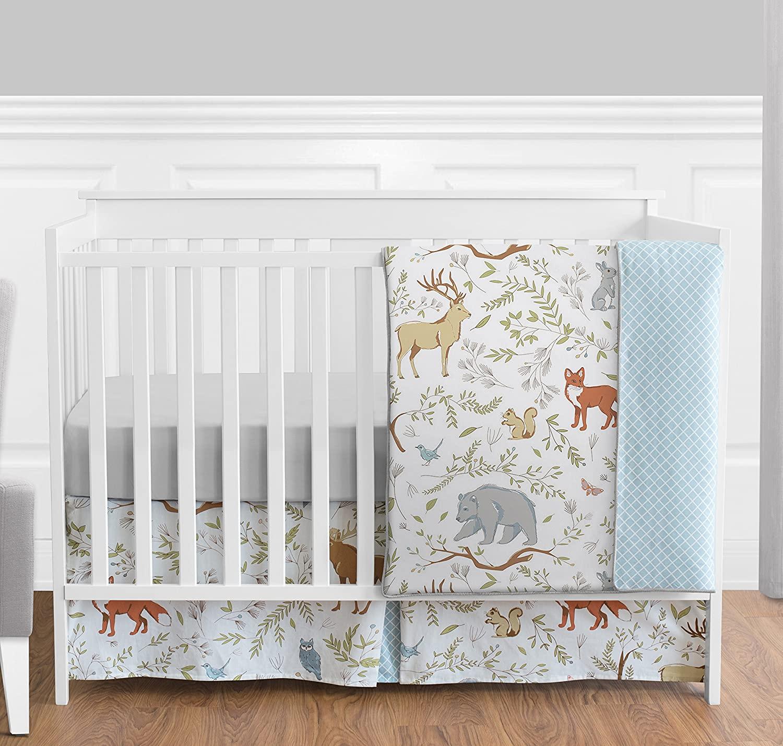 Blue, Grey and White Woodland Deer Fox Bear Animal Toile Girl or Boy Baby Bedding 4 Piece Crib Set