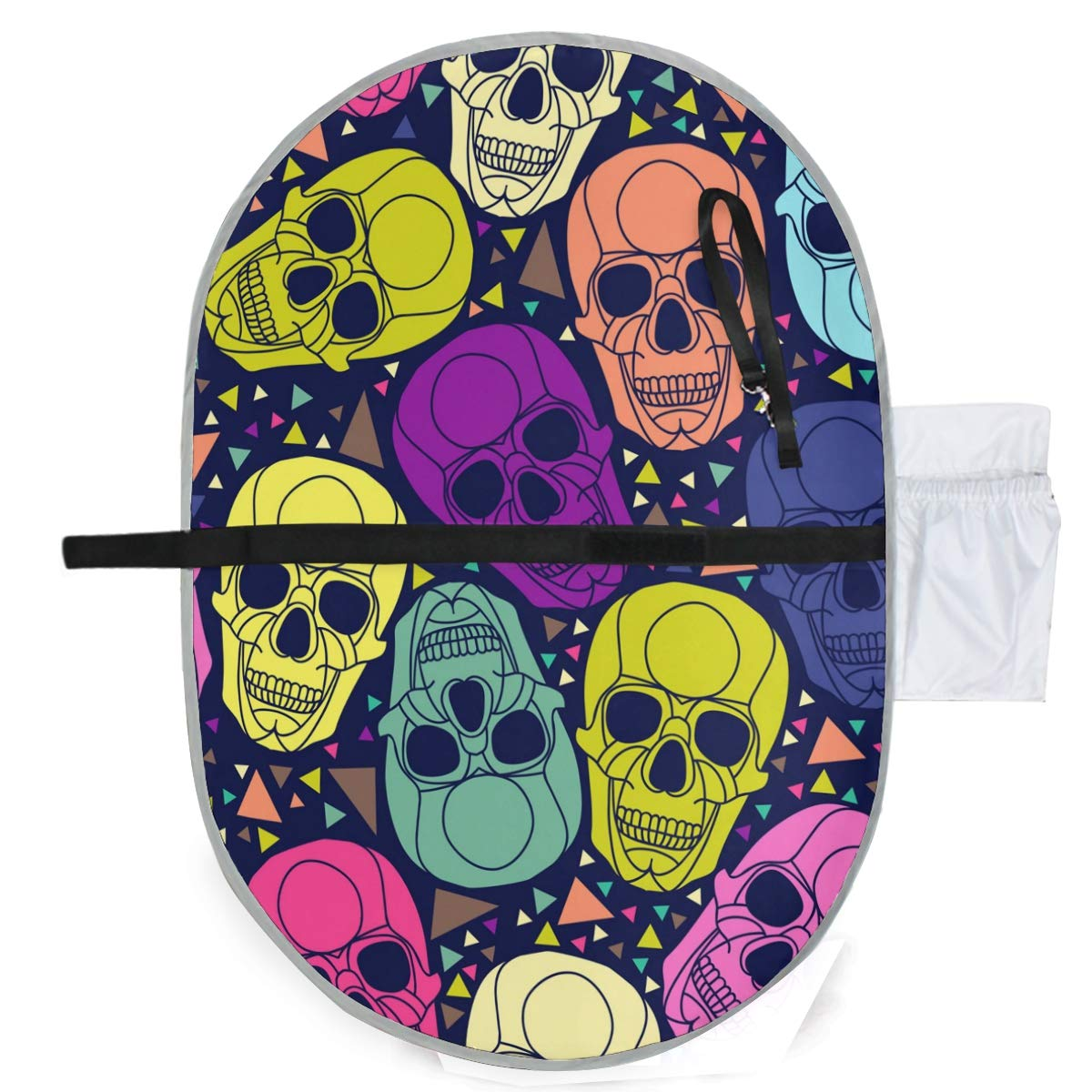 Waterproof Washable Baby Diaper Changing Pad Mat Geometric Colorful Skulls Portable and Foldable Infant Large Nappy Mat 27x20 inch