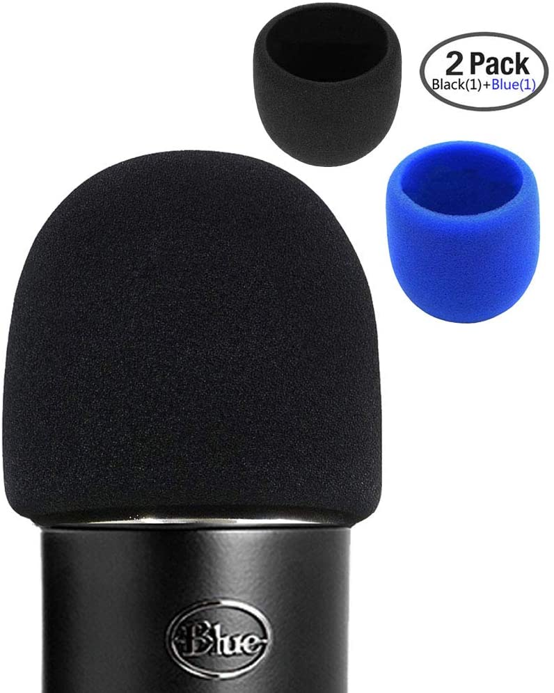 Foam Microphone Windscreen- Aedor Quality Sponge Mic Cover as a pop filter for Blue Yeti, Yeti Pro Condenser Microphones 2 Pack (1pack Black+1pack Blue)