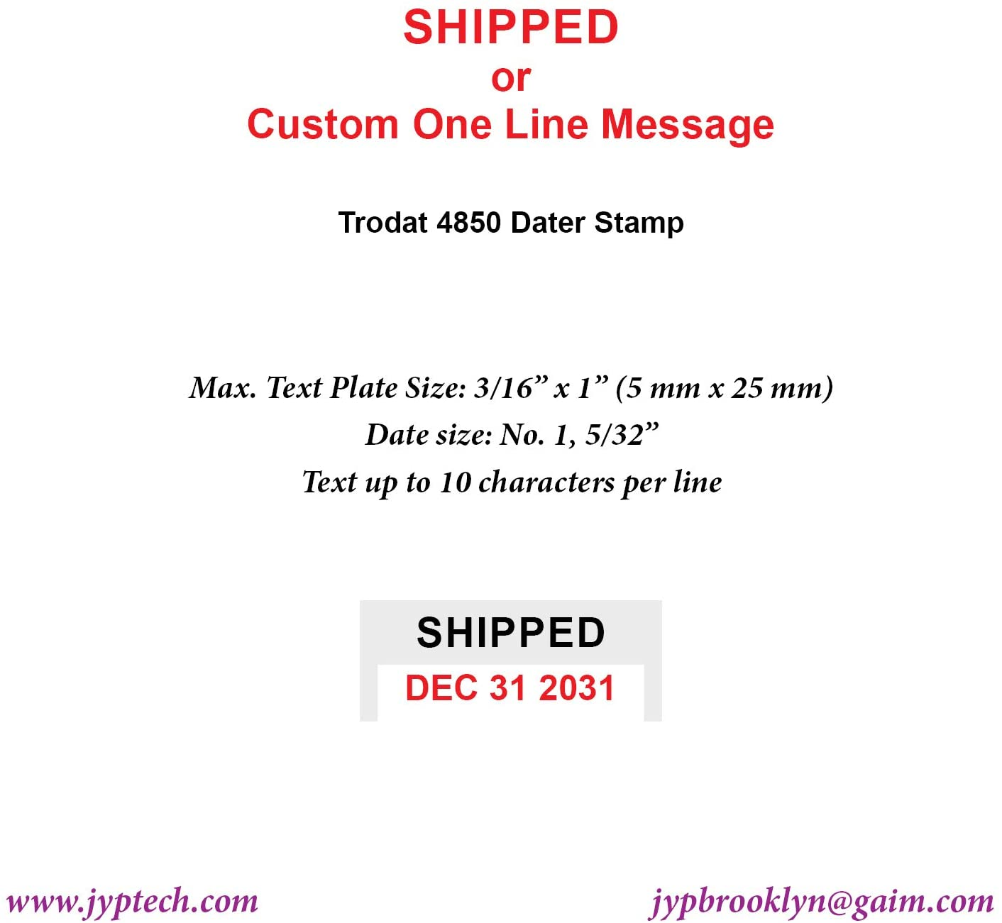 Shipped W. Date OR Custom ONE LINE Message 4850 SELF Inking Stamp (3/16