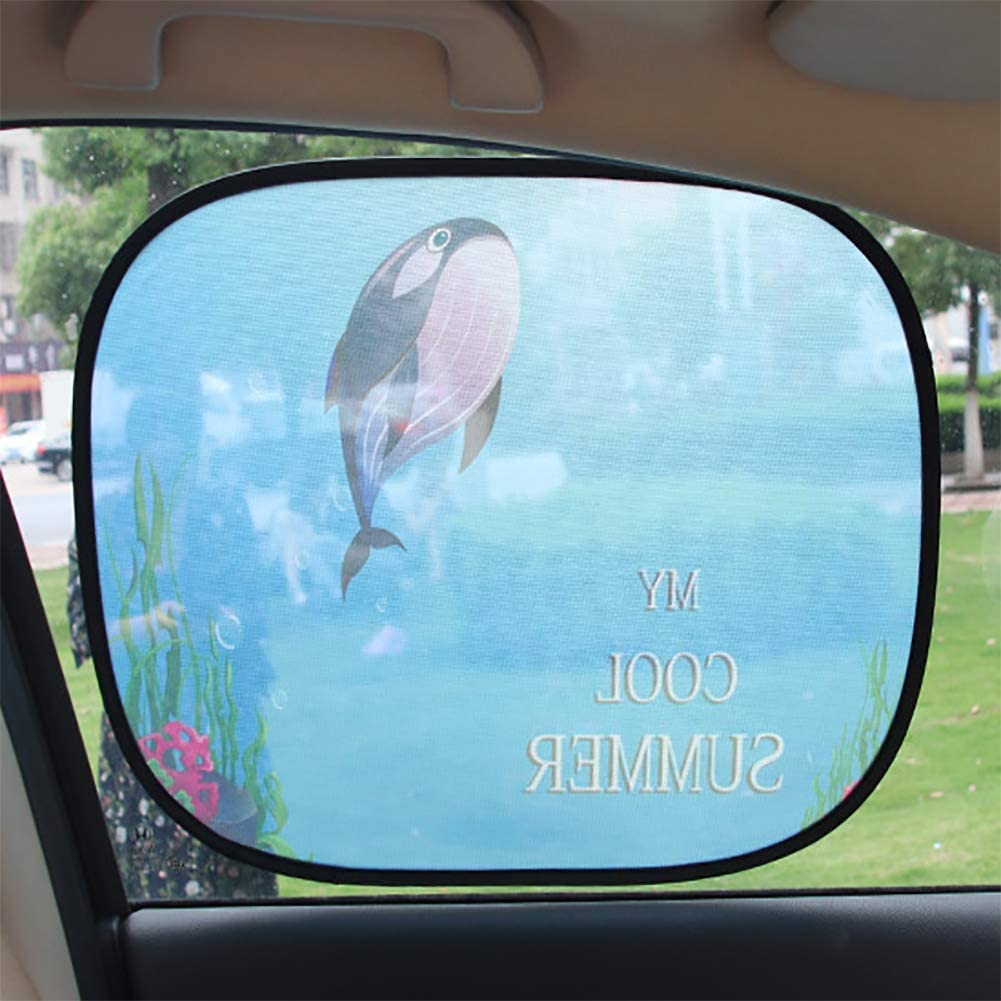JINGBO Car Window Shade,2PCS Cute Style Child Baby Pet Easy Install UV Protection,Side Window Sunshades Whale, Lion, Giraffe, Watermelon