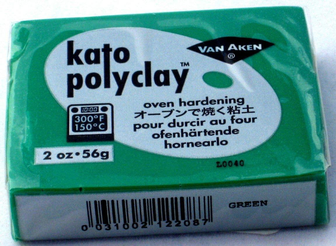 Kato Polyclay Polymer clay 2 ounces / 56 grams, polymer clay Kato Polyclay brick of 56 grams (GREEN)