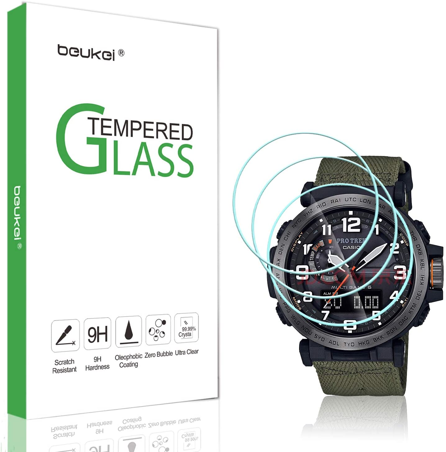 (3 Pack) Beukei for Casio PRG-600/650 / PRW-6600 Screen Protector Tempered Glass, (36 mm),Anti Scratch, Bubble Free