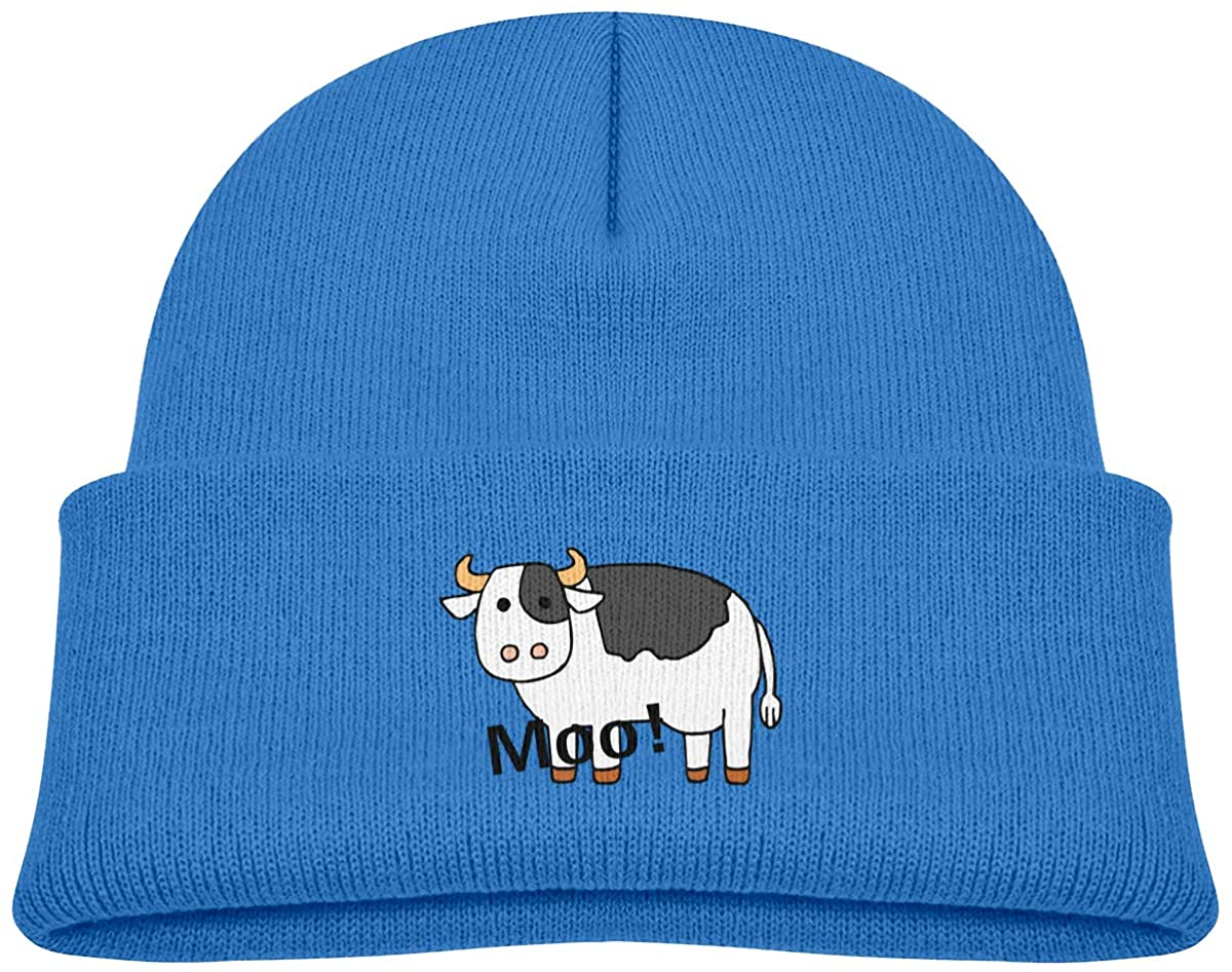 EASON-G Toddler's Beanie Funny Cow Cuffed Knit Hat Skull Cap