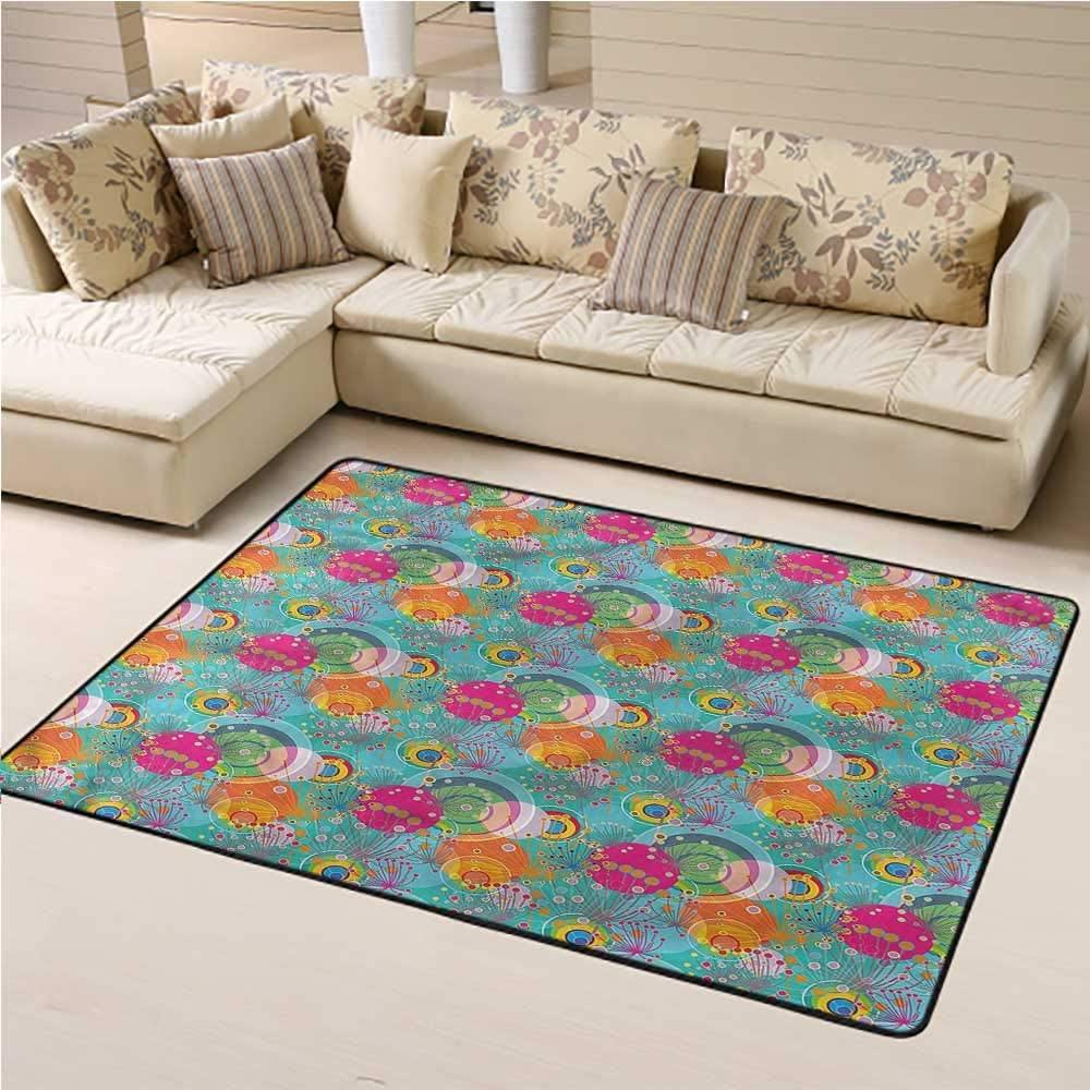 Carpet Floral, Dandelion Vibrant Spring Baby Floor Playmats Crawling Mat for Bedroom Playroom Nursery, Best Shower Gift 6 x 9 Feet