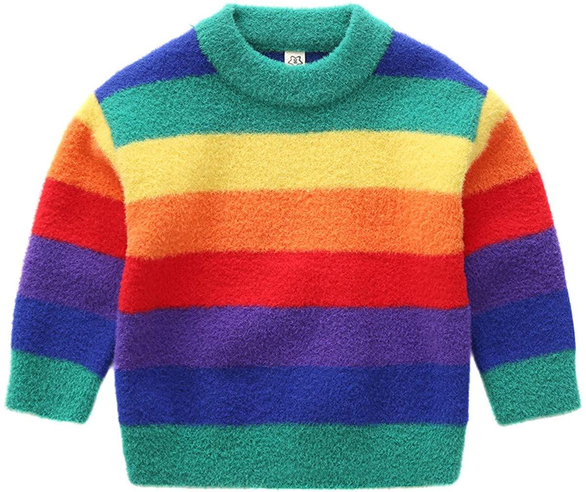 Little Kids Girls Colorful Striped Round Neck Rainbow Print Pullover Sweater Cotton Warm Sweatshirt Tops