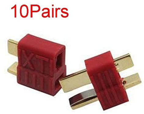 Parts & Accessories 10Pairs Gold Plated T-Plug 50A High Current Non-Slip Surface UAV Battery and ESC Connection Spare Parts for RC Model Aircraft - (Color: Male and Female)