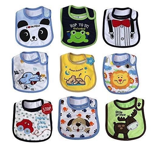 FREE FISHER Baby Bibs Toddler Bib Set,Unisex Water Proof Cotton Toddler Bibs,Drool Bibs with Velcro 9-Pack