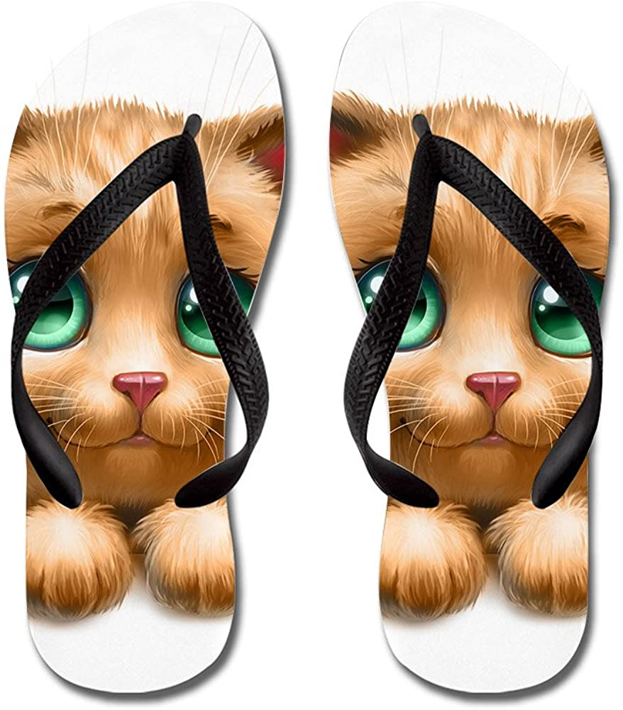 Lplpol Cute Cat Flip Flops for Kids and Adult Unisex Beach Sandals Pool Shoes Party Slippers