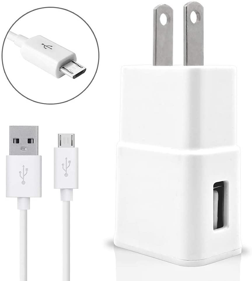 Accessory Kit 2 in 1 Charger Set for Lenovo K5 Cell Phones [3.1 Amp USB Wall Charger + 3 Feet Micro USB Cable] White