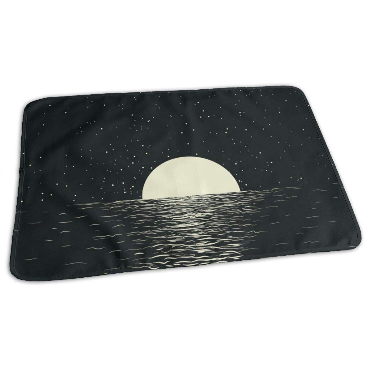 ZZguowuque Portable Changing Pad -Reusable Waterproof Baby Changing Pad(9.457.09 Inch) Seascape with Moon