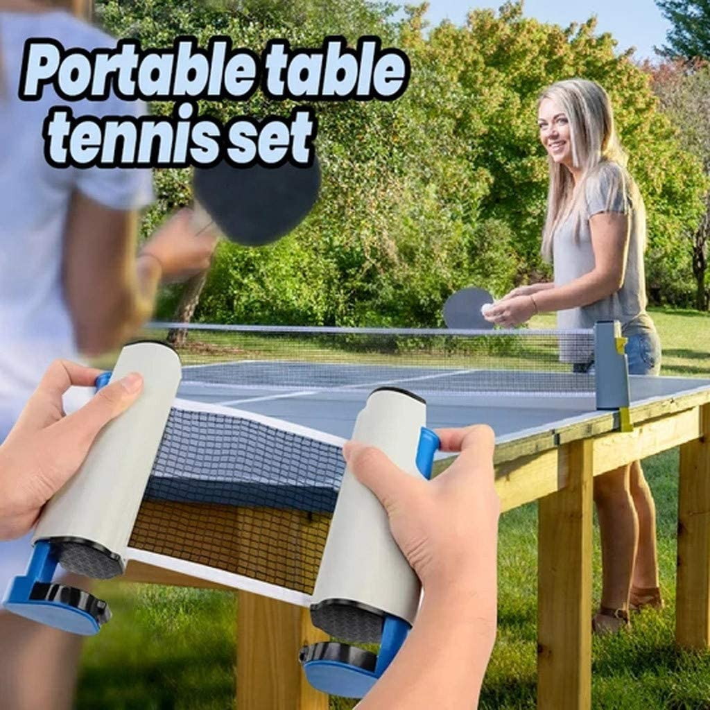 iBOXO Retractable Ping Pong & Table Tennis Net, Adjustable Any Table Anywhere, Indoor Outdoor Sport Game Replacement Accessories Portable Tabletop Net Regulation Folding Table Tennis