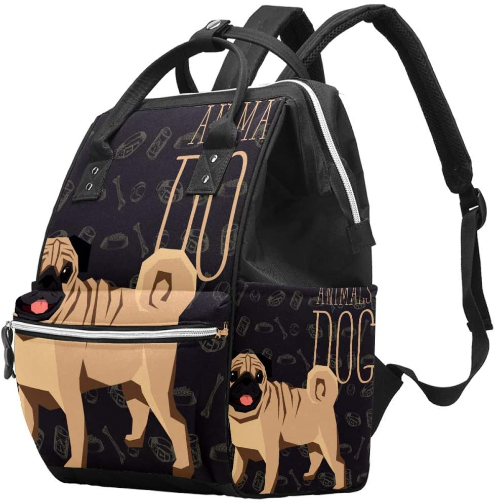 Cute Pug Dog Changing Bags Organizer Nappy Bags for Baby Care