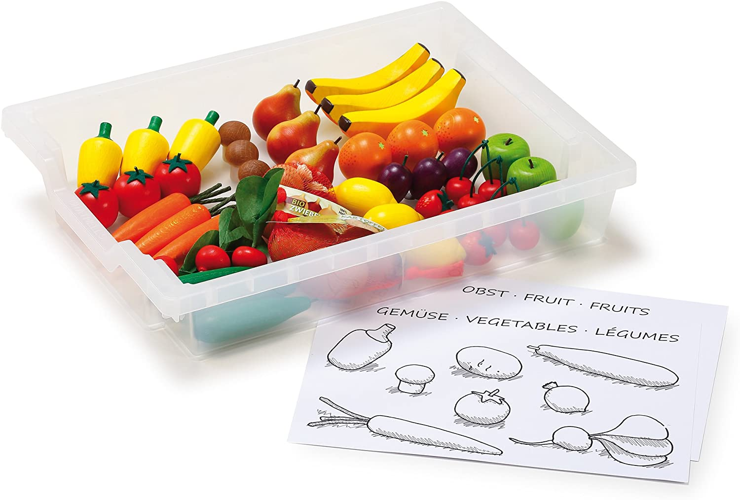Erzi German Wooden Toy Learning Box Fruit and Vegetables, 44 Pc