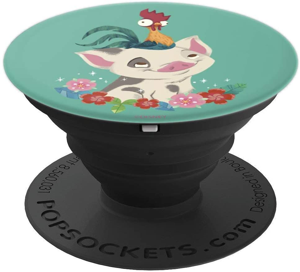 Disney Moana Pua And Hei Hei Floral Portrait PopSockets Grip and Stand for Phones and Tablets