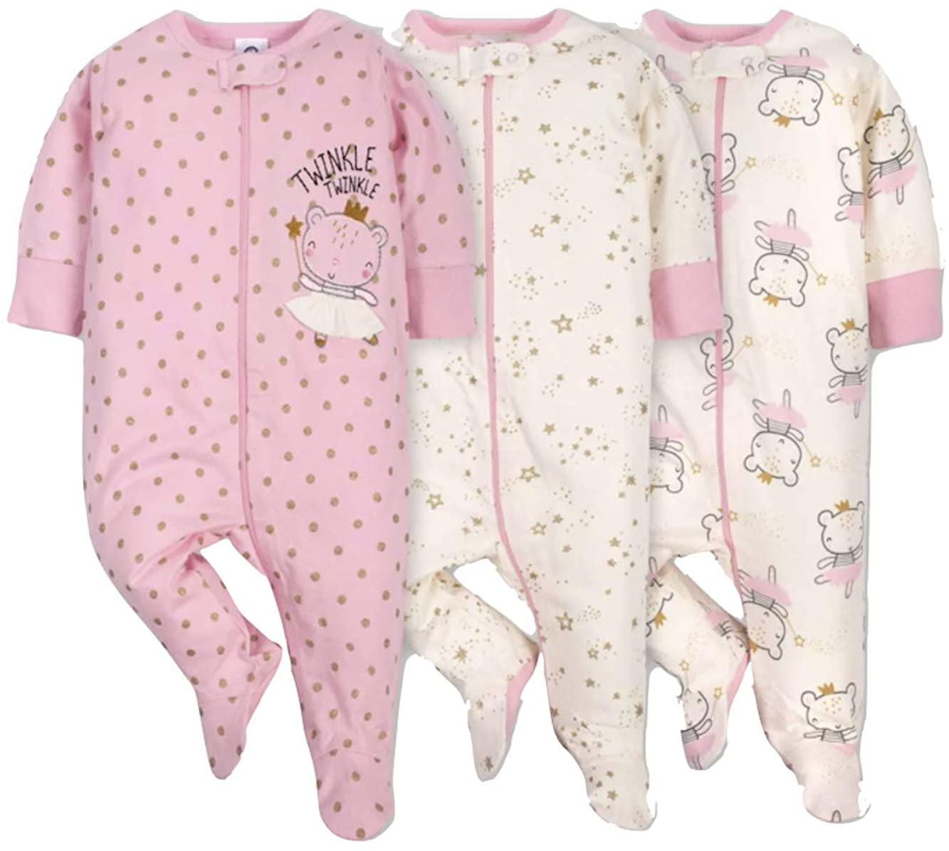 GERBER Baby Girls' 3pk Princess Sleep N' Play Pajamas - Pink/Ivory, 0-3 Months