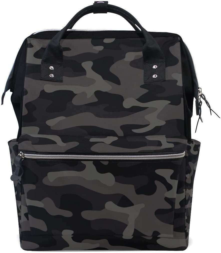 Backpack Black Dark Camouflage Color Large Capacity Diaper Bag Travel Daypack