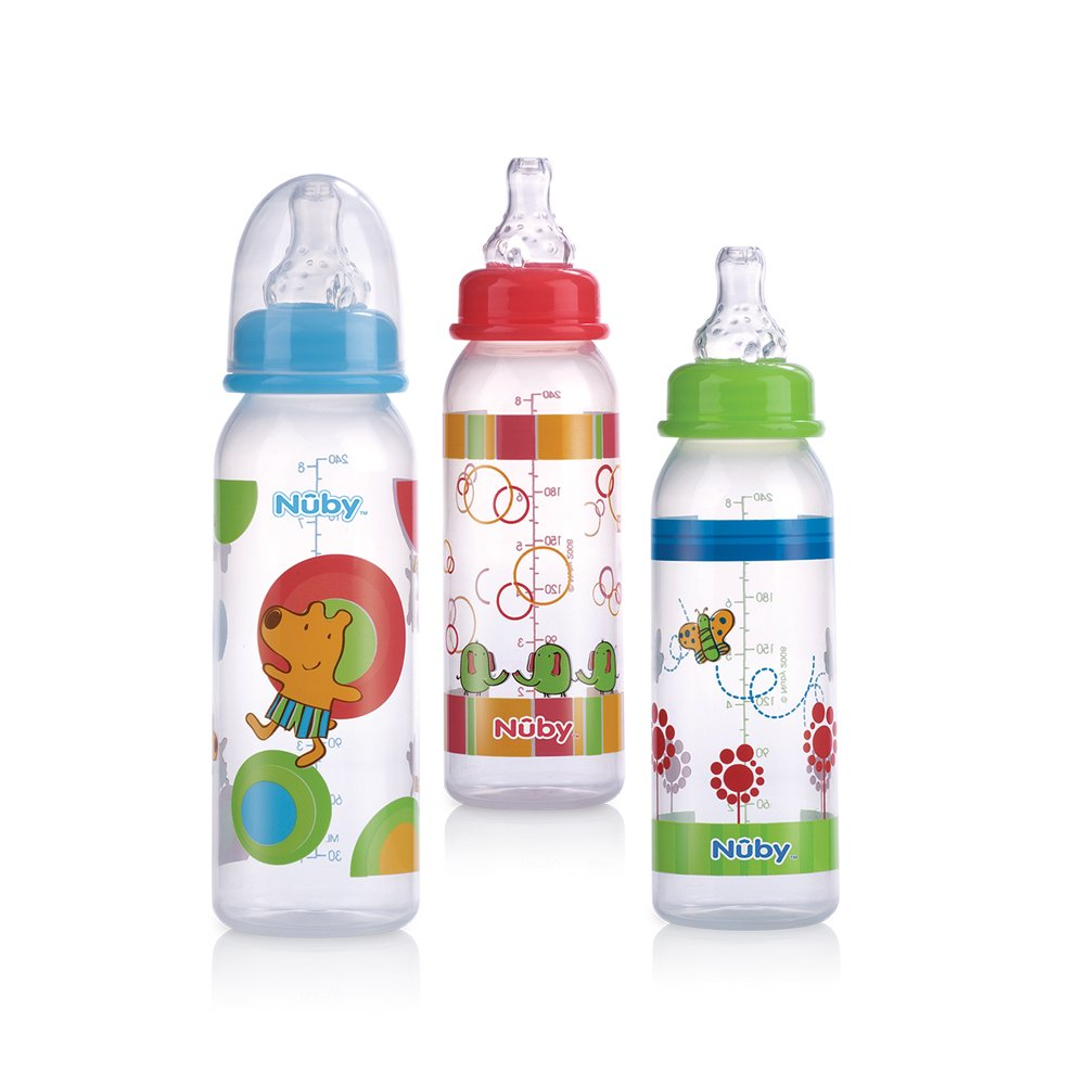 Nuby 3 Pack Clear Printed Bottle, 8 Ounce, Colors May Vary (Discontinued by Manufacturer)