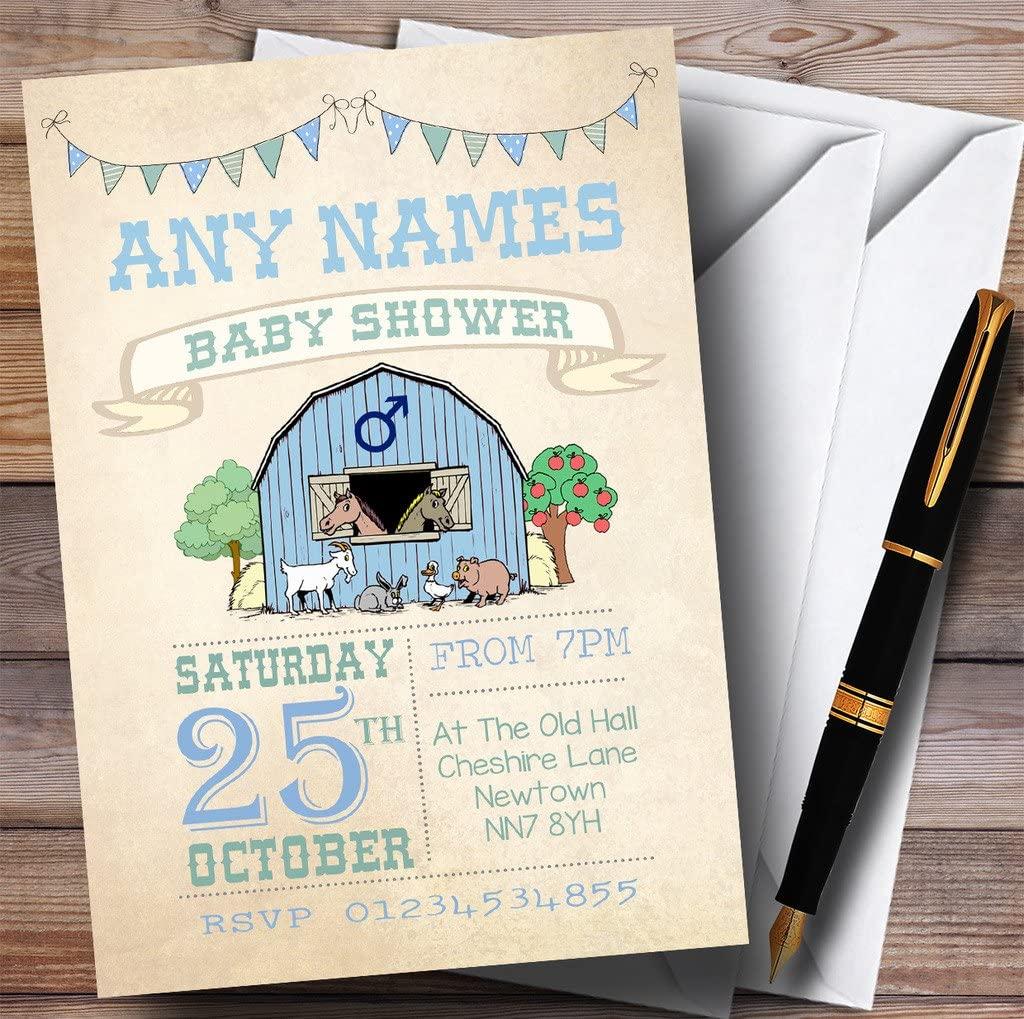 Boys Farm Animals Invitations Baby Shower Invitations
